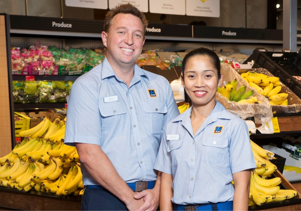 Aldi's first WA store managers Steve Shortall and Sheaony Turner.