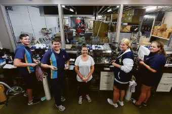 Gilmore College Year 12's Jake Byrne, Kurtis Jackson, Darian Beck & Christine Stott with barista trainer Summah Grant (centre)