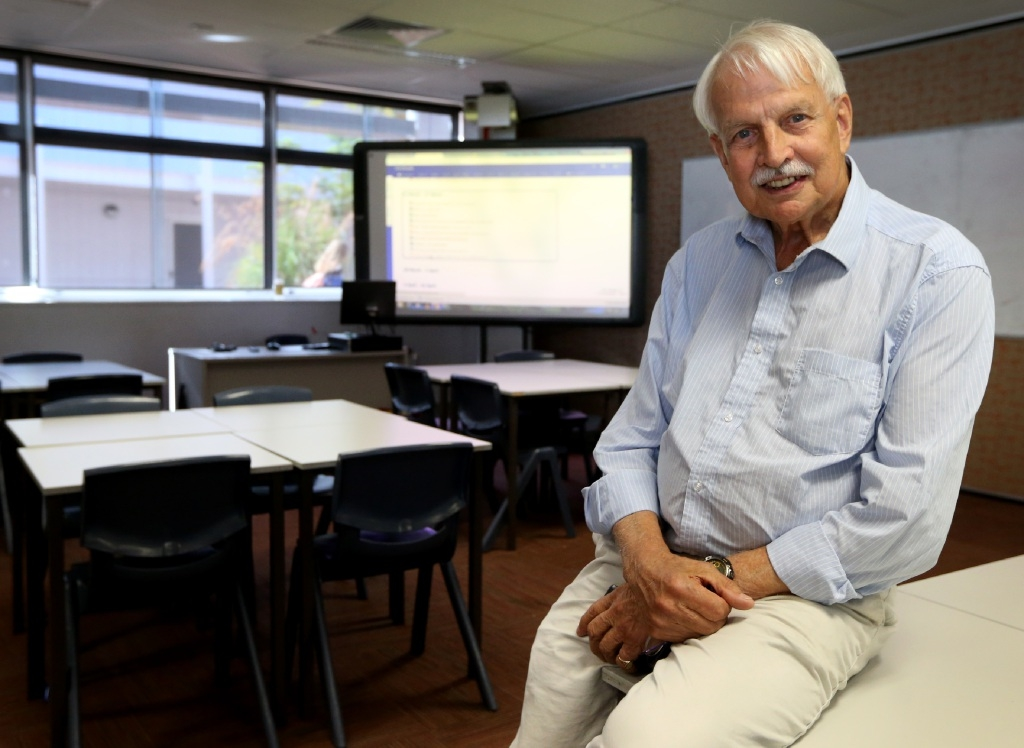 WA's longest serving teacher Bill Hann retires this week after 60 years in education. Picture: Matt Jelonek