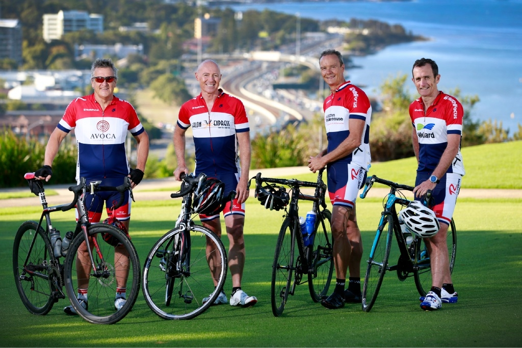 Graham Iddles, left, James Sutherland, Peter Trench and Wayne Bradshaw are four of the five founding members of the Hawaiian Ride for Youth. Picture: Andrew Ritchie. d450702