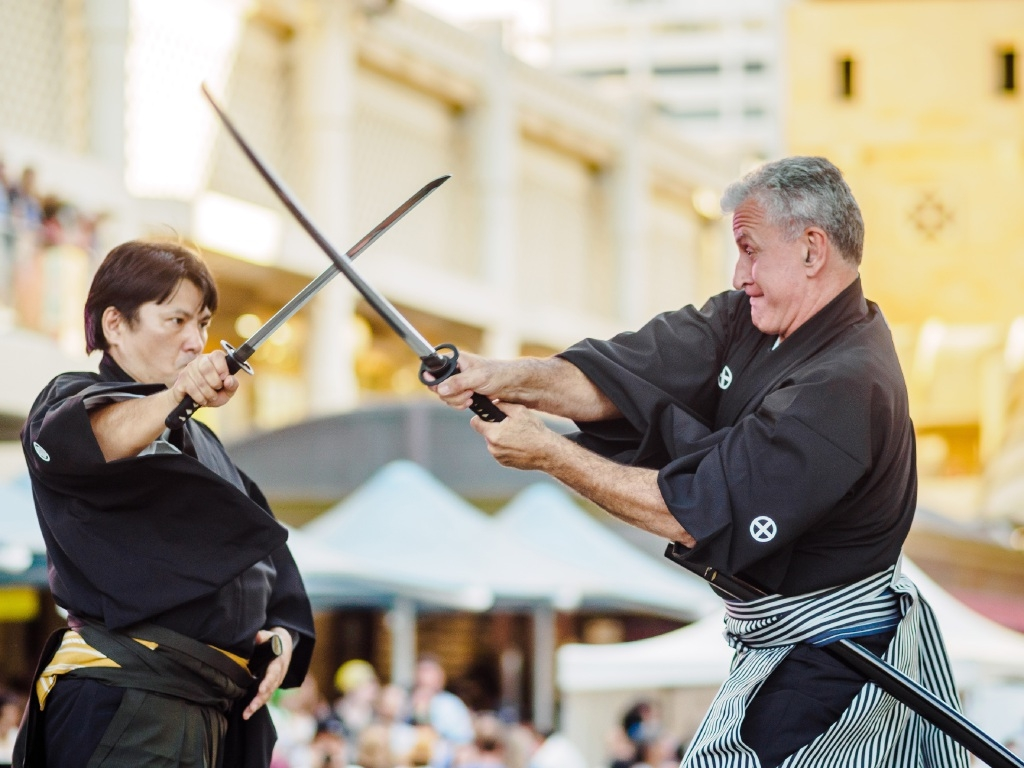 Perth Japan Festival chair Chiharu Fukumoto performed as a kendo master at last year's festival, which attracted 15,000 people.