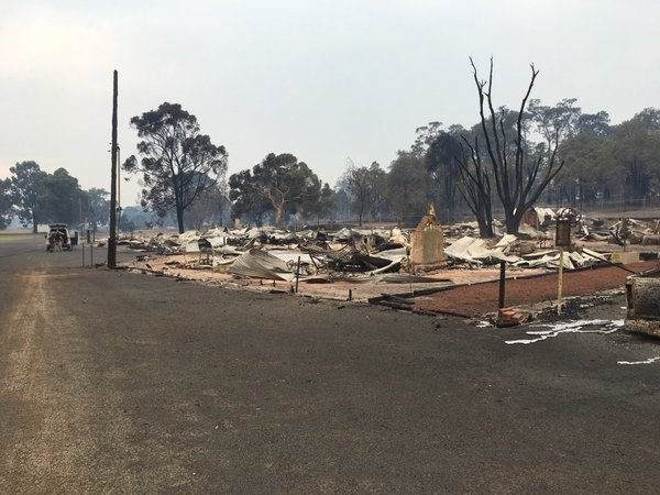 The devastation caused by the bushfire.