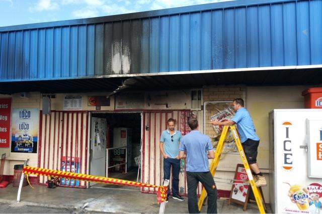 Damage at a Middle Swan bottle shop. Picture: David Baylis