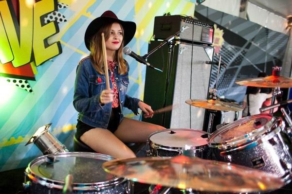 San Cisco drummer Scarlett Stevens at yesterday's fundraising event for the south west fires.