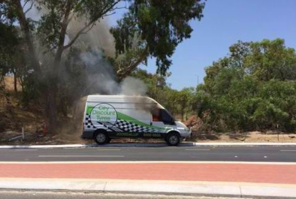 The van fire was extinguished within 20 minutes.Photo: Trent Kay.
