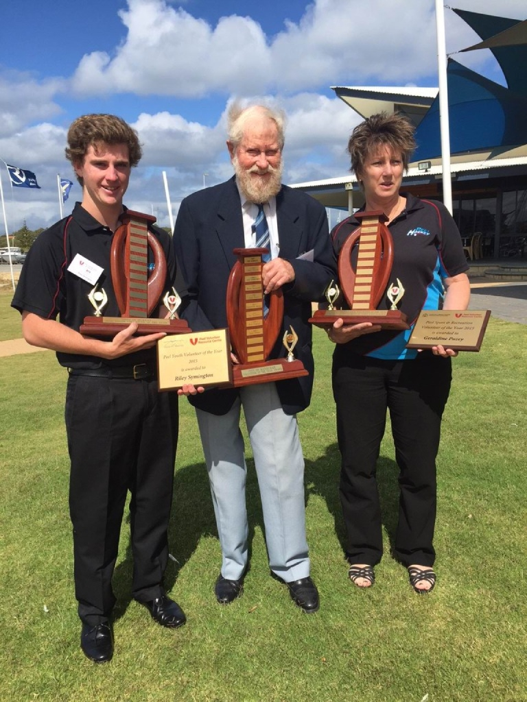 Volunteers of the year Riley Symington, Tony Perry and Geraldine Puzey with their awards.