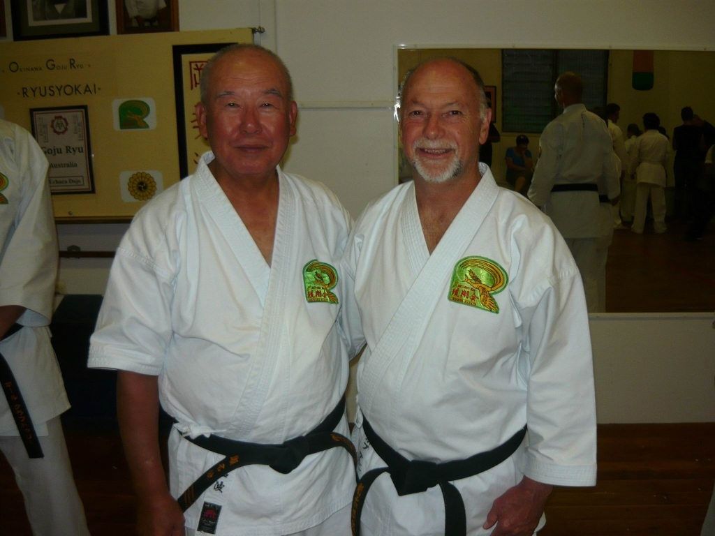 Sensei Shigetoshi Seneha and Bob Allen. Picture: Lisa Skrypichayko