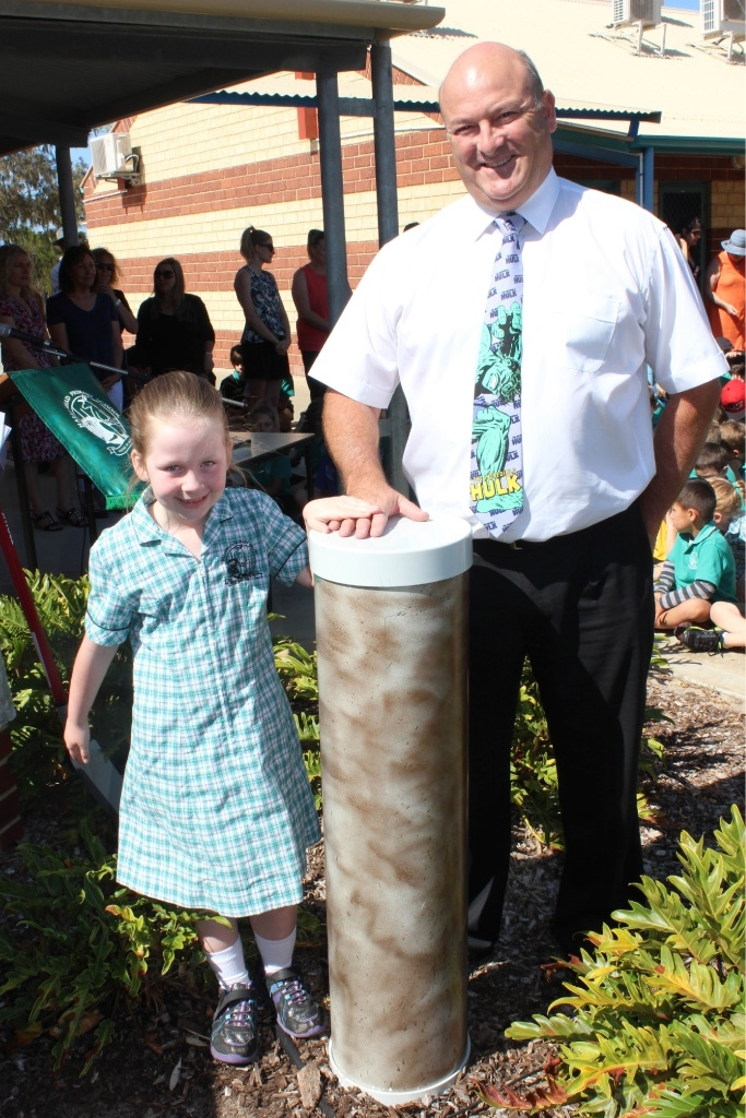 Lacey Reynolds with principal Peter Beckingham.