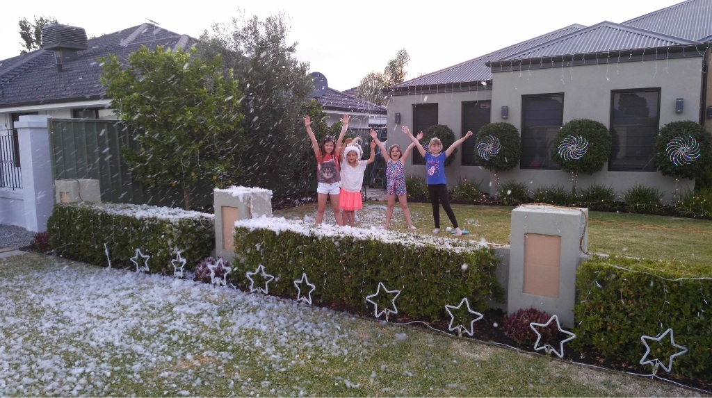 Cheers for that time of the year: Natasha Manson, Imogen Stanners, Christina Matthews, Eden Pearce. Picture: Jason Pearce
