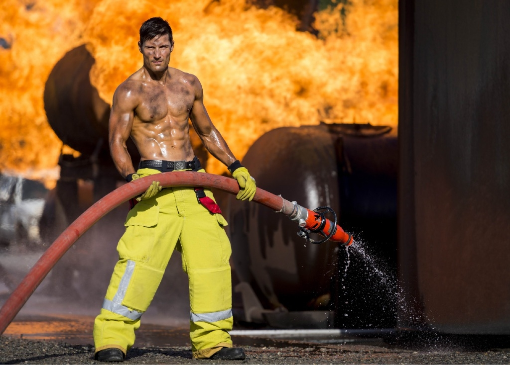 Firefighter Dan Pohara in the 2016 Perth Firefighters Calendar.
