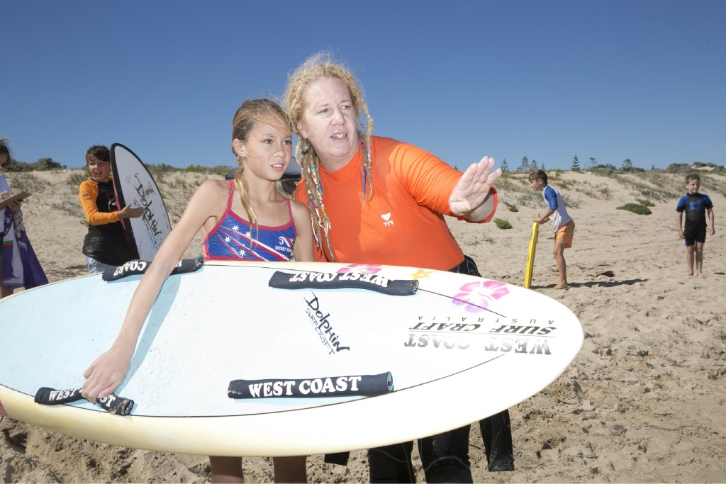 Secret Harbour Surf Life Saving Club director of youth Alexis Grayson with Kali Grayson.