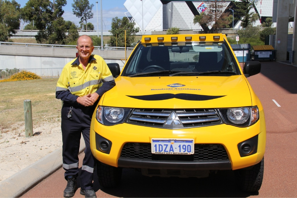 Kevin Reilly, of Wanneroo, and his mo-wearing patrol van.