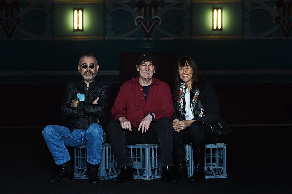 From left - Rick Steele, Matt Taylor and Sue Bluck at Astor Theatre. Picture: Marcus Whisson d438478