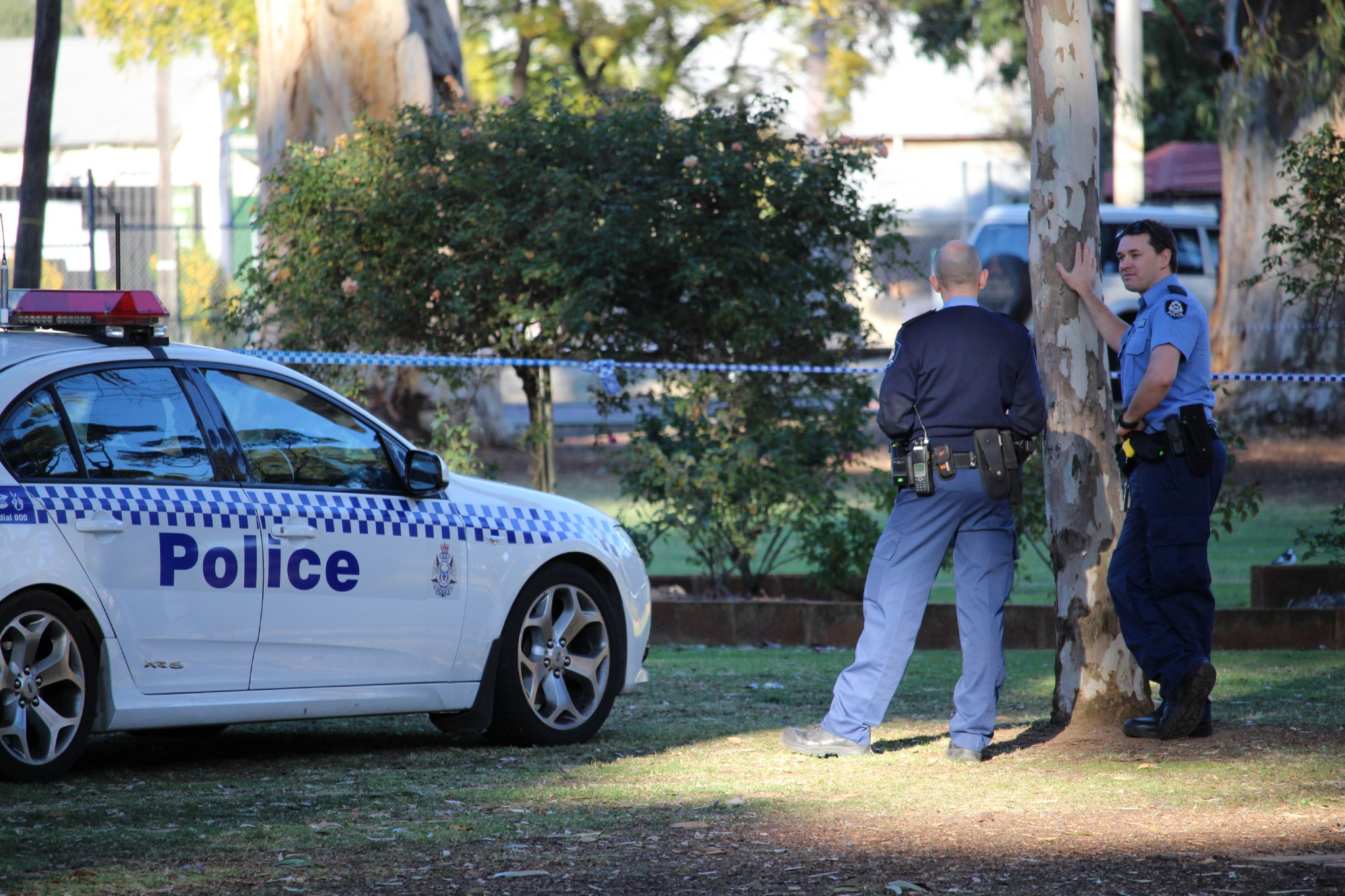 Police at Guildford's Stirling Square this morning investigating circumstances surrounding a man found with serious injuries yesterday. Picture: Joel Kelly