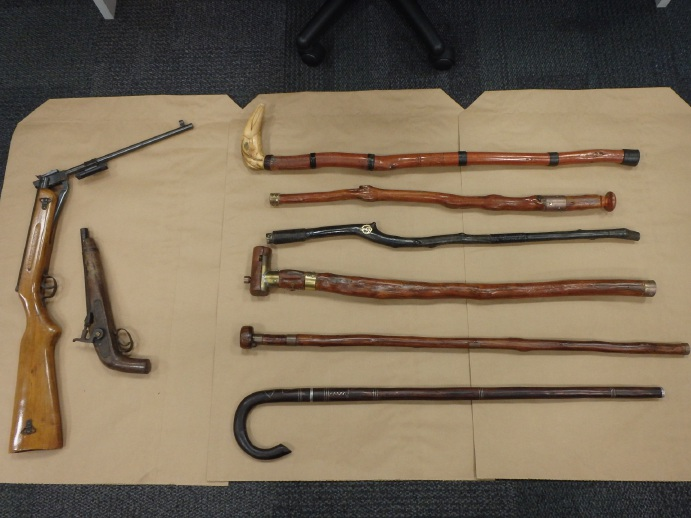Weapons found in a search in Kallaroo yesterday.