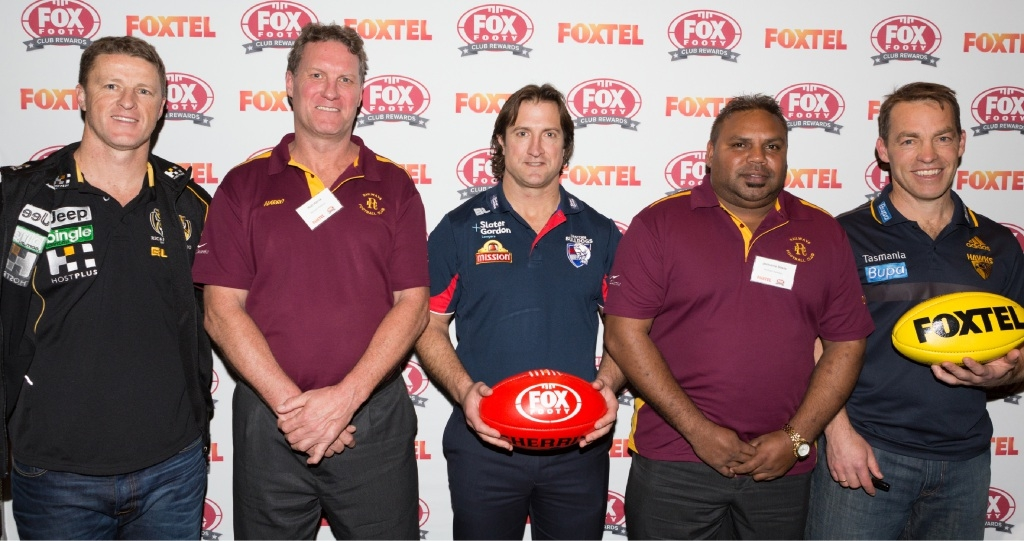 Northam Railways representatives Rob Harris (left) and Jermaine Davis with Damien Hardwick, Luke Beveridge and Alastair Clarkson.