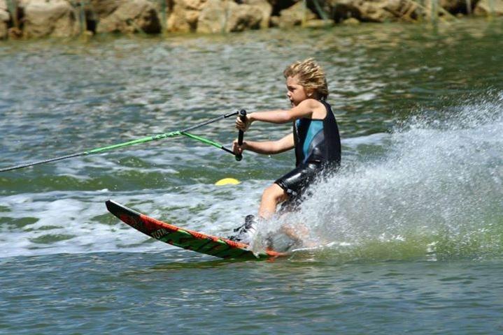 Seven-year-old Lucas Eaton waterskiing.