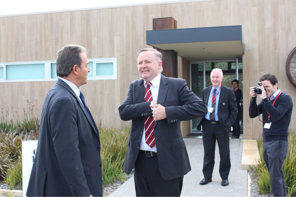 Mayor Charlie Zannino welcomes Anthony Albanese to Olive Farm Wines in the Swan Valley.
