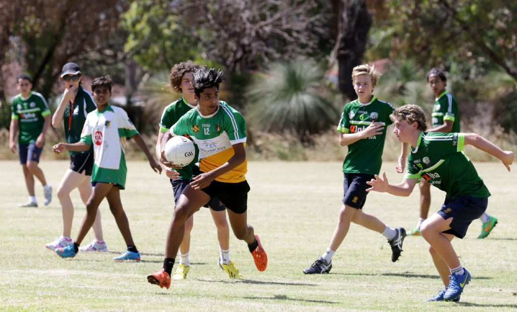 A Girrawheen Senior High student has possession. Picture: Martin Kennealey d446435