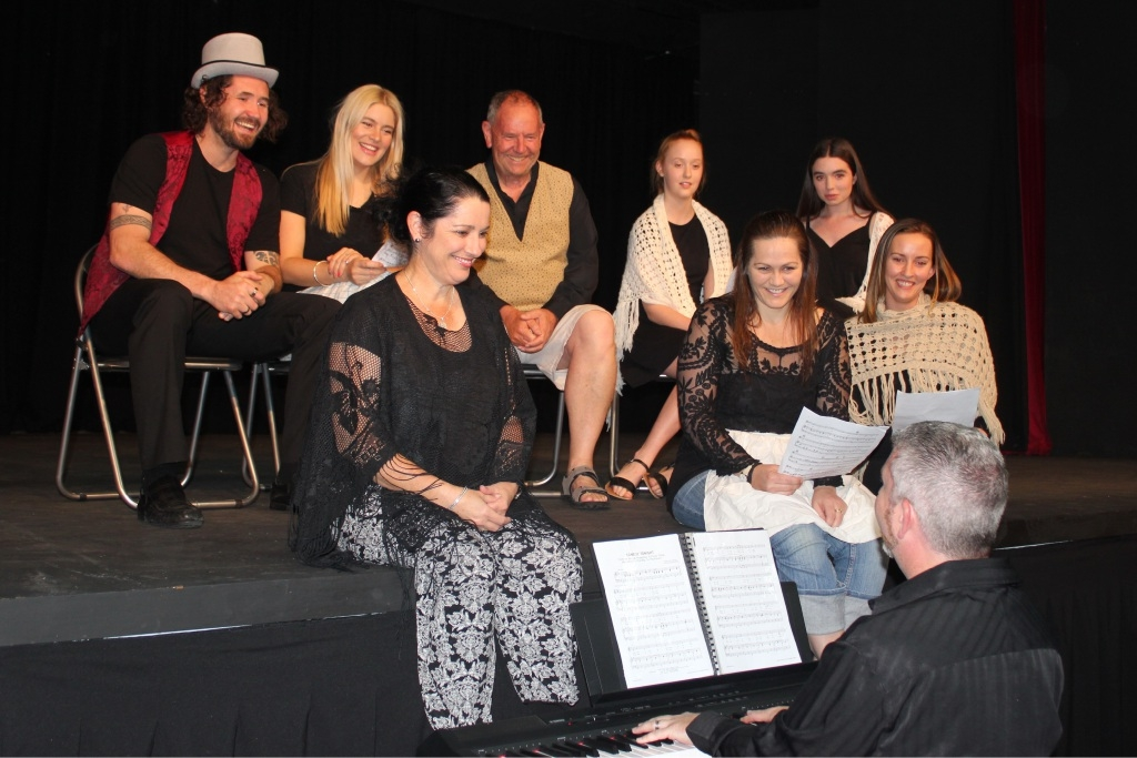 Former Rockingham resident Katherine Friend, front left, with husband Justin on keyboards, have brought back several actors to perform excerpts from some of Melville Theatre's most popular musicals.