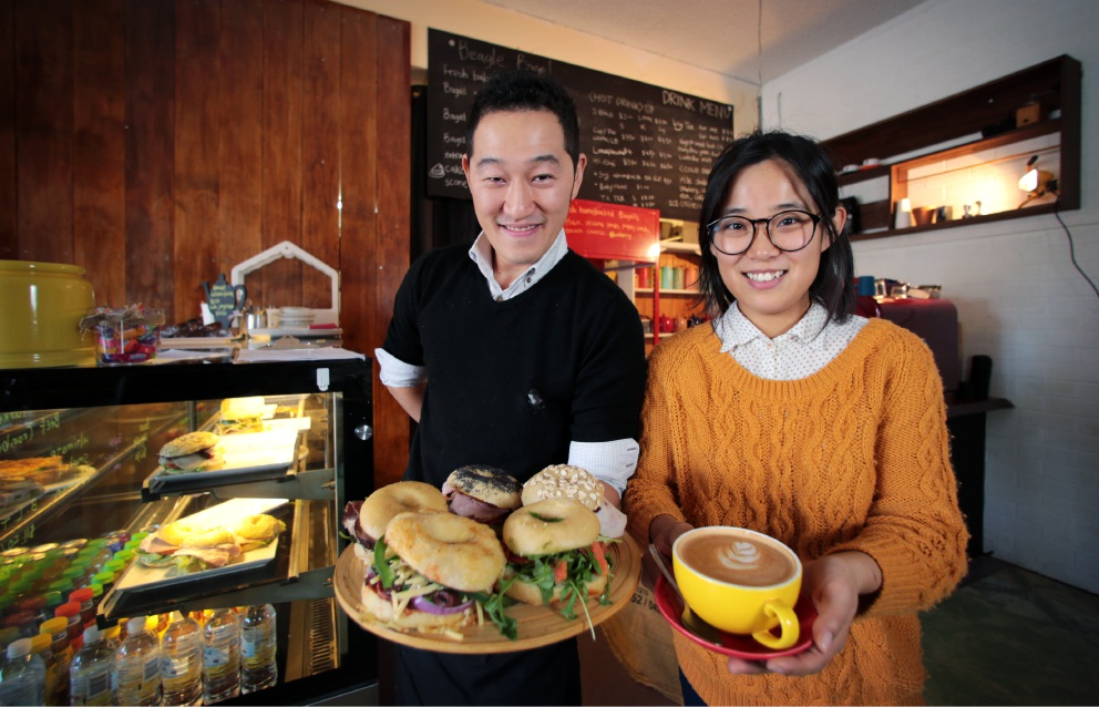 Sol Park and Ilmi Kim in their new cafe Beagle Bagel in Glen Forrest. Picture: David Baylis www.communitypix.com.au   d455916