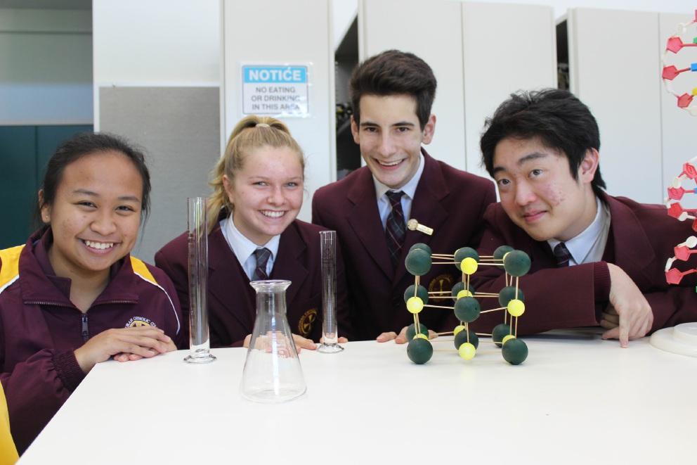 Science stars Katherine Magpily, Holly Snell, Matthew Glatzel and Darryl Teo.
