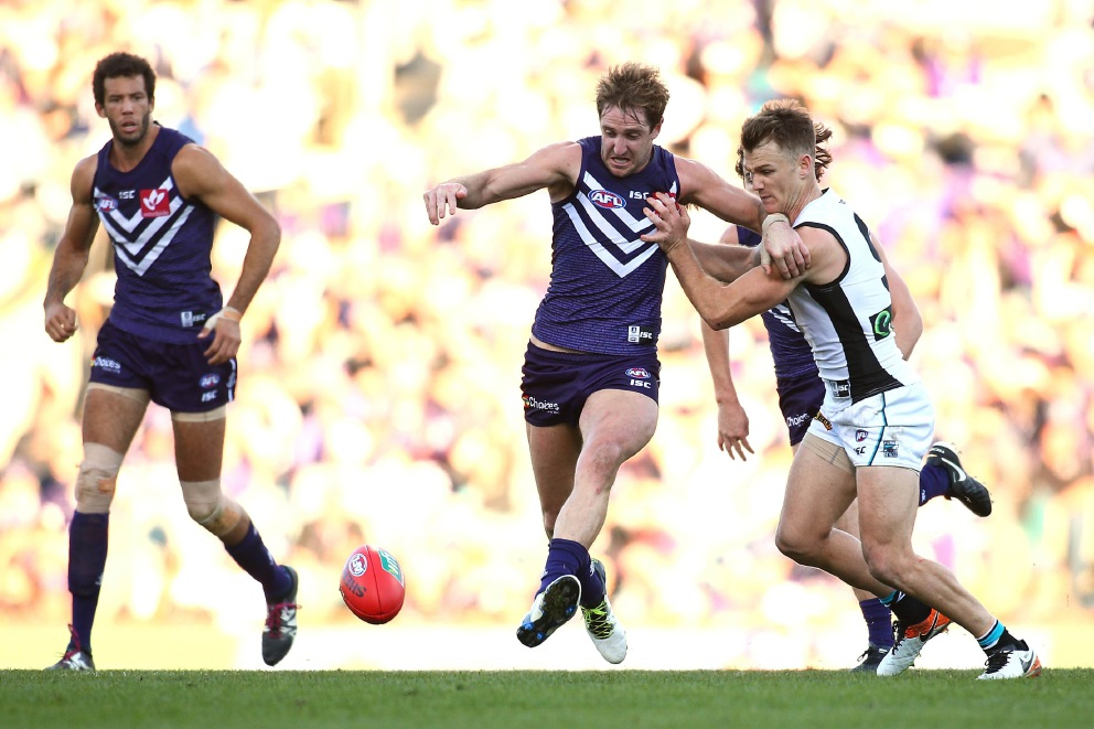 Michael Barlow against Port Adelaide earlier in the season.        Picture: Paul Kane