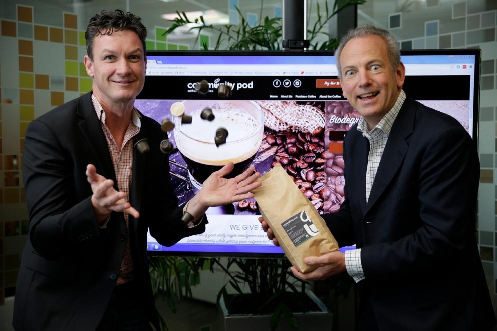 Community Pod founder Mark Grogan and Titan Digital director Ian Thubron. Picture: Andrew Ritchie www.communitypix.com.au   d456140