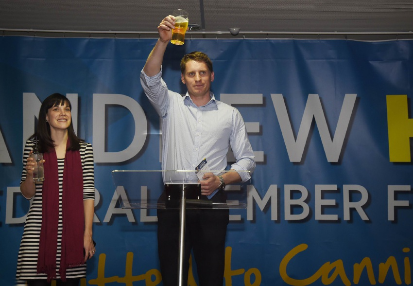 Canning MHR Andrew Hastie celebrates his win with wife Ruth and a beer. Picture: Richard Polden