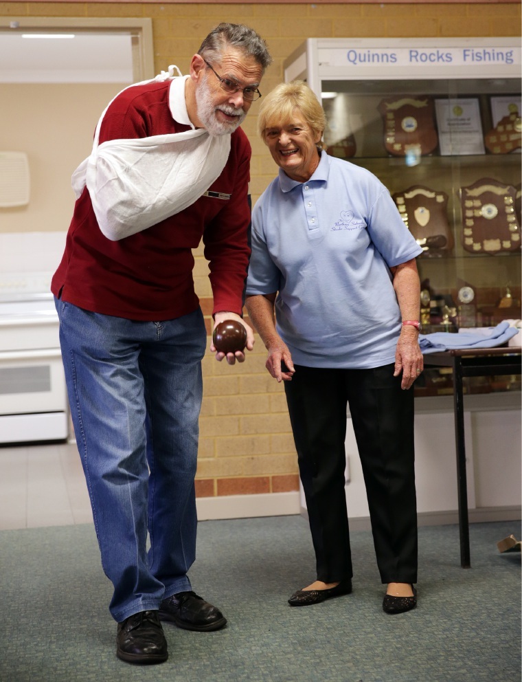 Northern Suburbs Stroke Support Group co-ordinator and founder Sally Allen with Wal Perryman, of Woodvale. Picture: Martin Kennealey  d455564