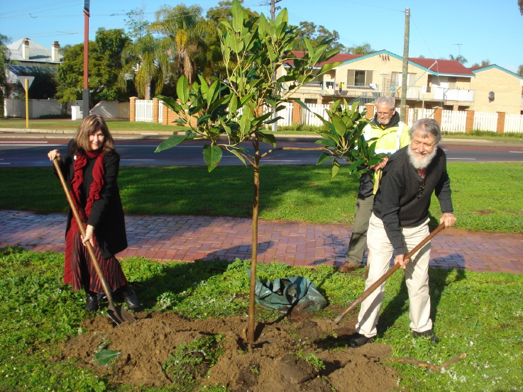 David Blair and Barbara Dundas at the tree-planting in Guildford.