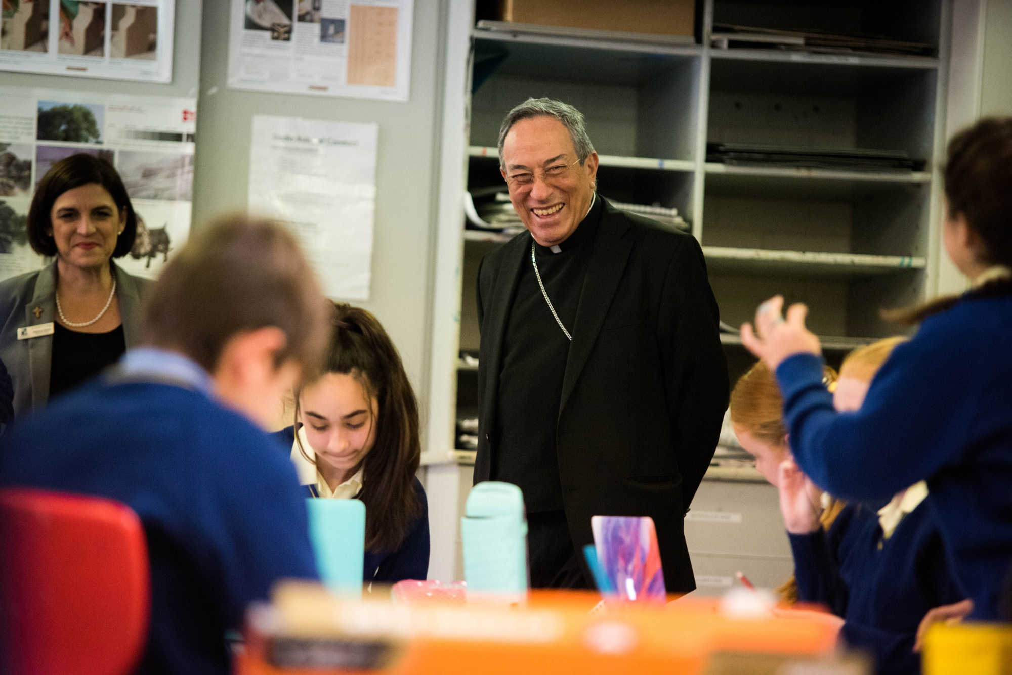 Cardinal Maradiaga talks with students at St Norbert College. Picture: Chris Richards-Scully