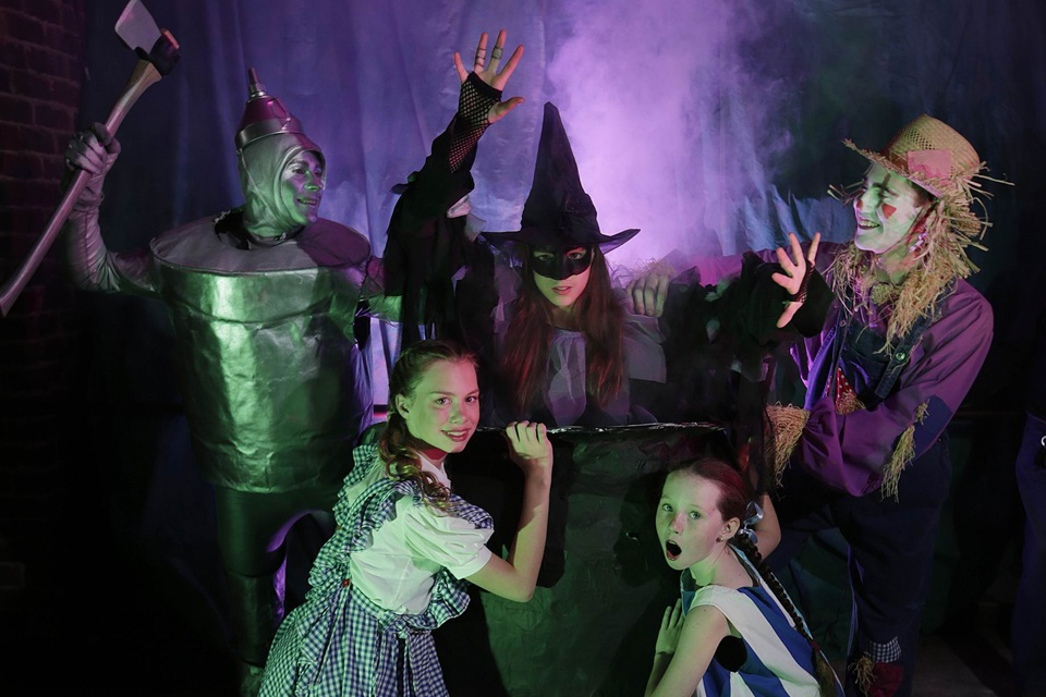 Billy Halton (Tin Man) from Melville, Sophie Marsh (Witch) from Scarborough, Brent Carson (Scarecrow) from Waikiki, Charlotte Fenn (Dorothy) from Tapping and Madison Hall (Munchkin) from Wellard. Picture Andrew Ritchie d455672.