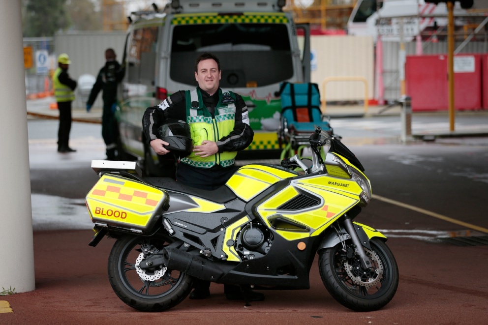 David Vance with his AusServ motorcycle.