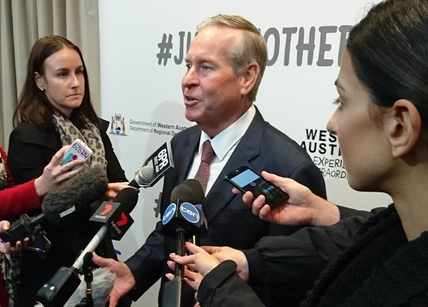 Premier Colin Barnett addresses the media after the campaign launch.