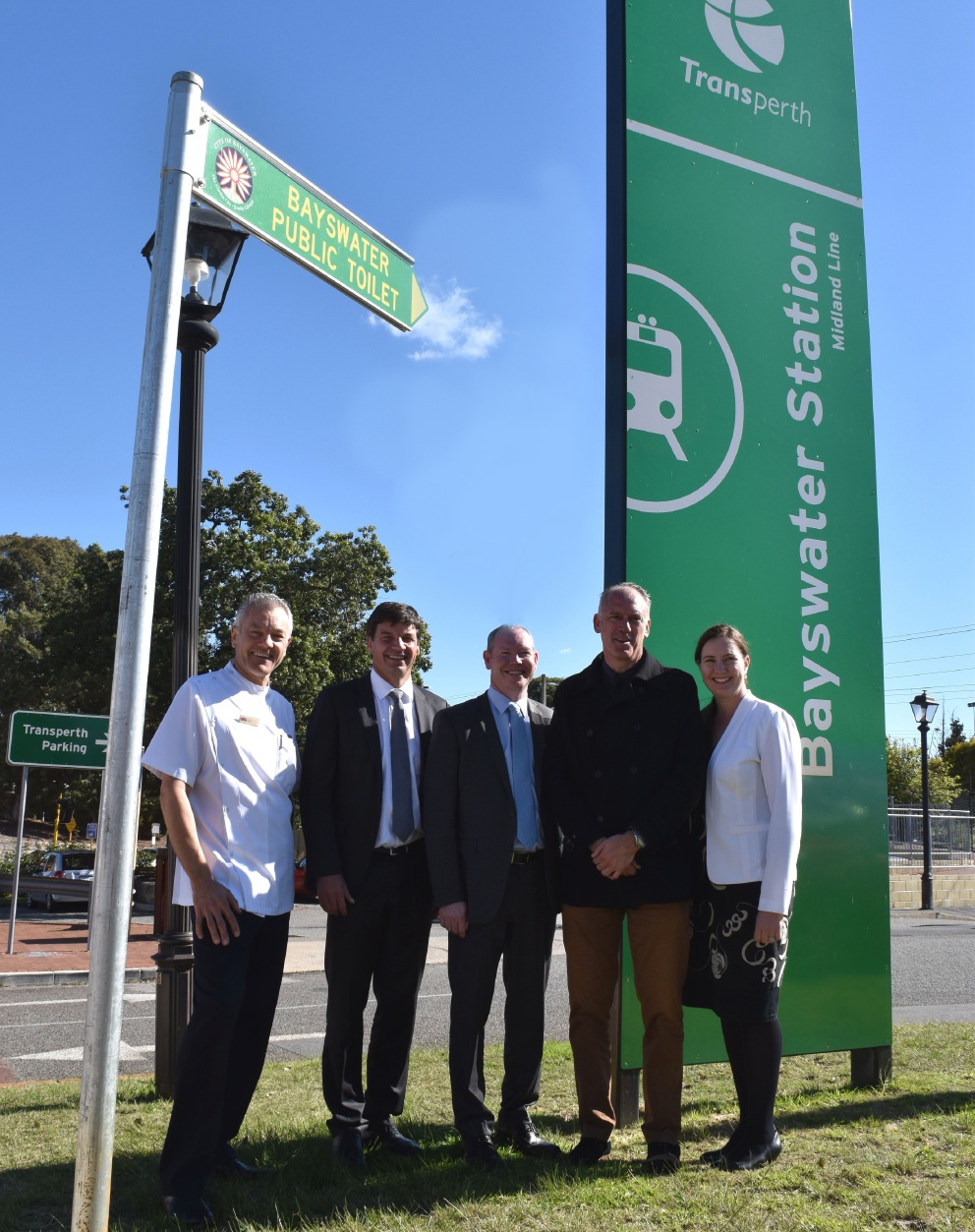 Bayswater Village Retail Traders Association member Greg Da Rui, Federal Assistant Minister for Cities and Digital Transformation Angus Taylor, Perth Liberal candidate Jeremy Quinn, Future Bayswater members Paul Shanahan and Michelle Prior at the Bayswater Train Station.