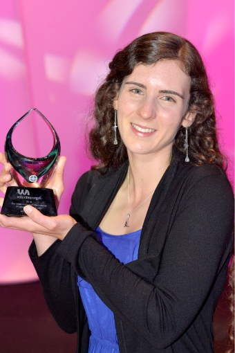 Myaree vet student Meg Rodgers was won the People's Choice Award at the Western Australian Volunteer of the Year Awards.