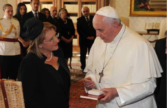 Malta President Marie Louise Coleiro Preca with Pope Francis. Picture: Jeremy Wonnacott/Facebook