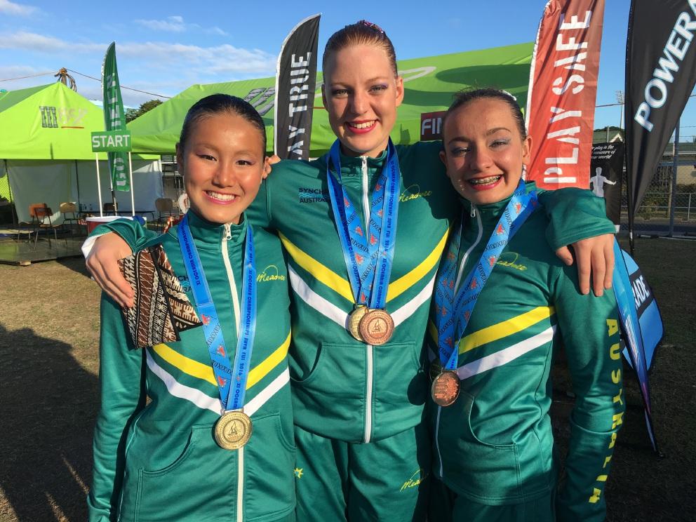 SupaNova Synchronised Swimming Club members Alessandra Ho, Kazia Zenke and Hannah Burkhill.