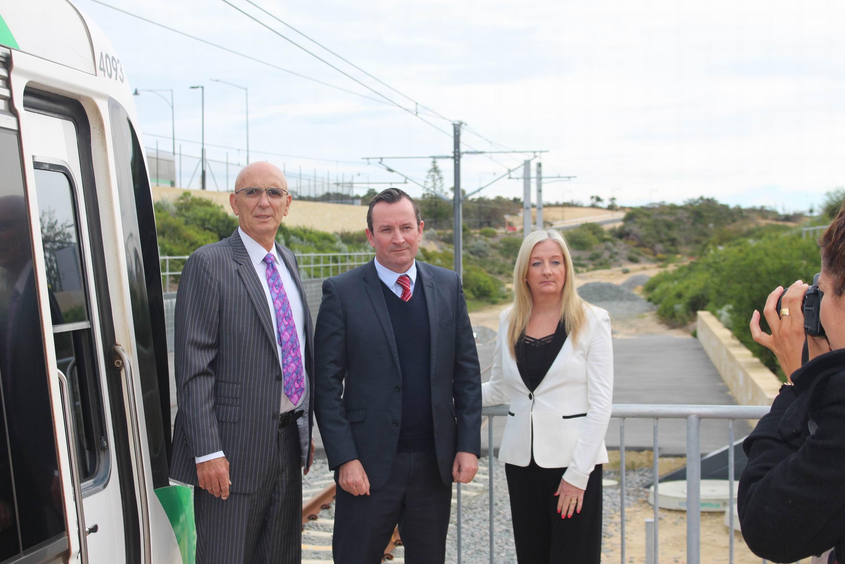 Butler MLA John Quigley, WA Labor Leader Mark McGowan and City of Wanneroo Mayor Tracey Roberts.