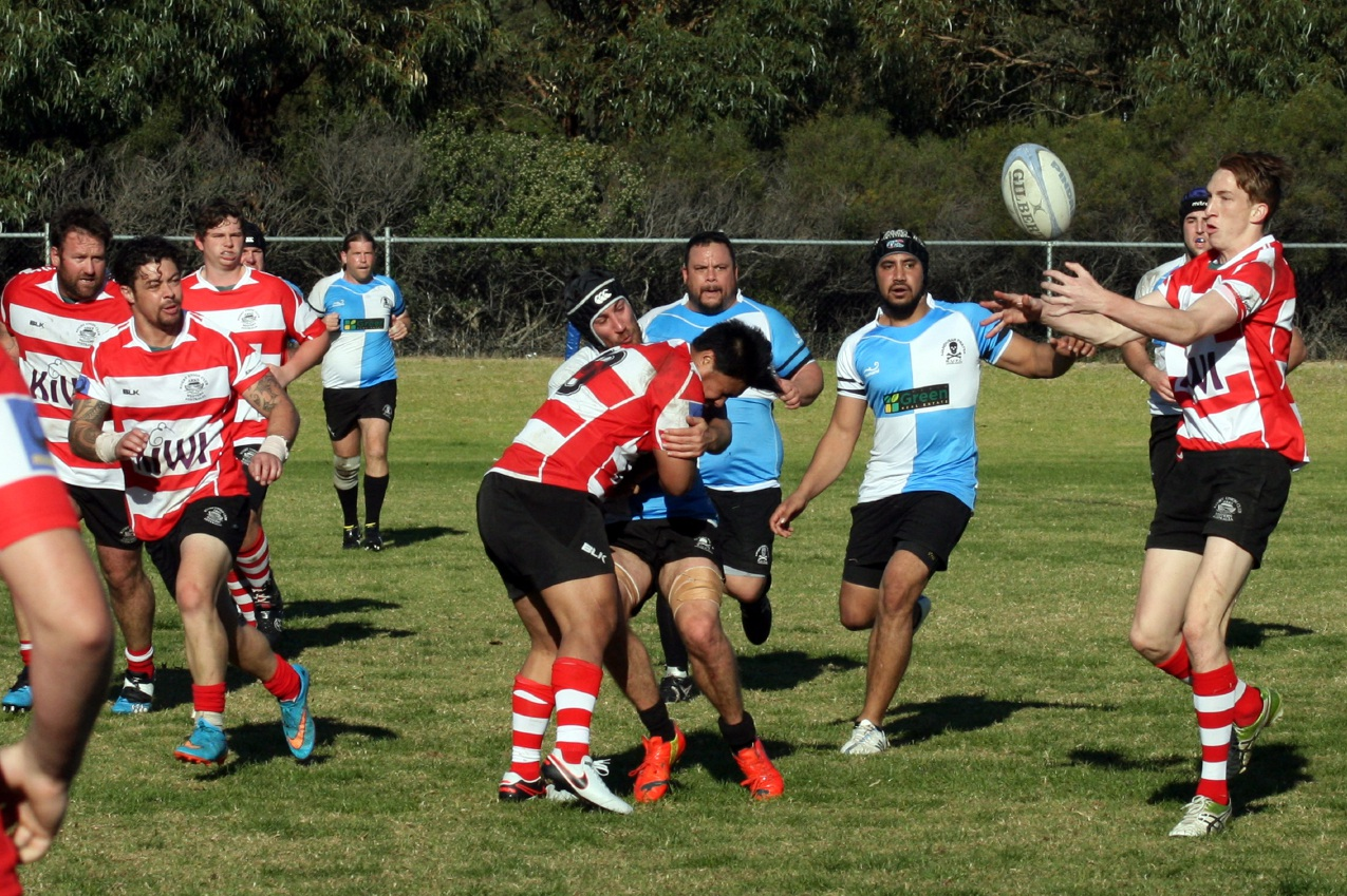 Asti Miller catches the ball with Blair Gibbons looking on during Arks' clash with the Mandurah Pirates last Saturday.