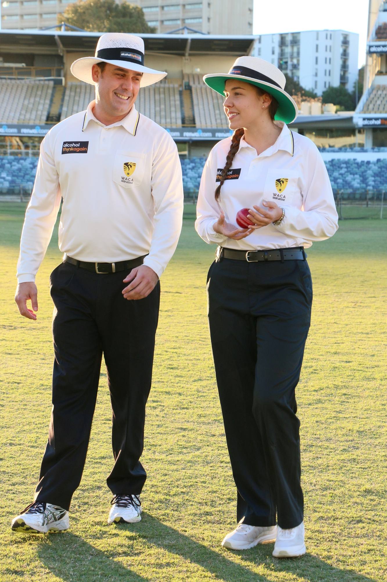 WACA umpires Nathan Johnstone and Ashlee Kovalevs