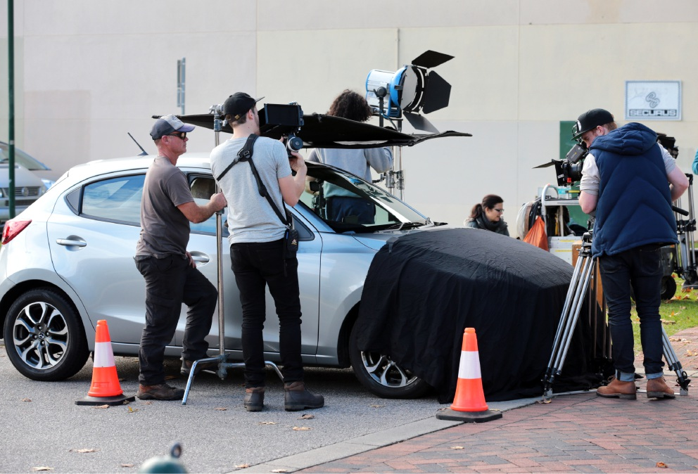 The road safety TV commercial being filmed in a carpark on Old Great Northern Highway in Midland.  Picture: David Baylis        d455917