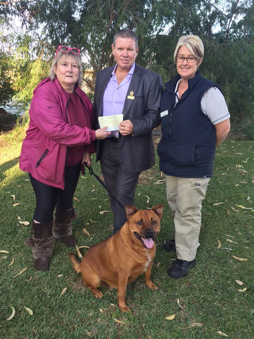 K9 president Carole Carter, deputy mayor Darren Lee and City of Mandurah pound assistant Tracey Robert with dog Sally, who is looking for a home.
