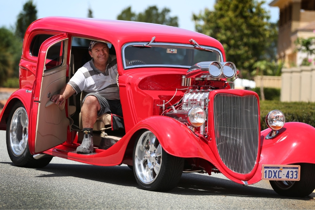 Tony Fondacaro spent nine years restoring his pride and joy, a 1934 Ford Tudor Hot Rod.Picture: Andrew Ritchie        www.communitypix.com.au   d446403