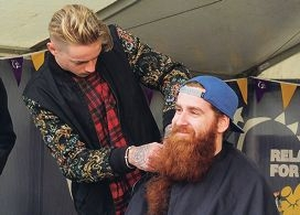 Sean Easther gets his pride and joy shaved off by Jefferson from Zig Zag Hair Studio, in Joondalup.