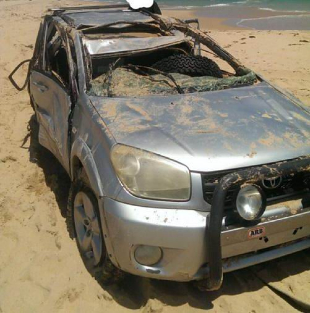 This car got caught in surf at Preston Beach. Photo courtesy of Waroona Police.