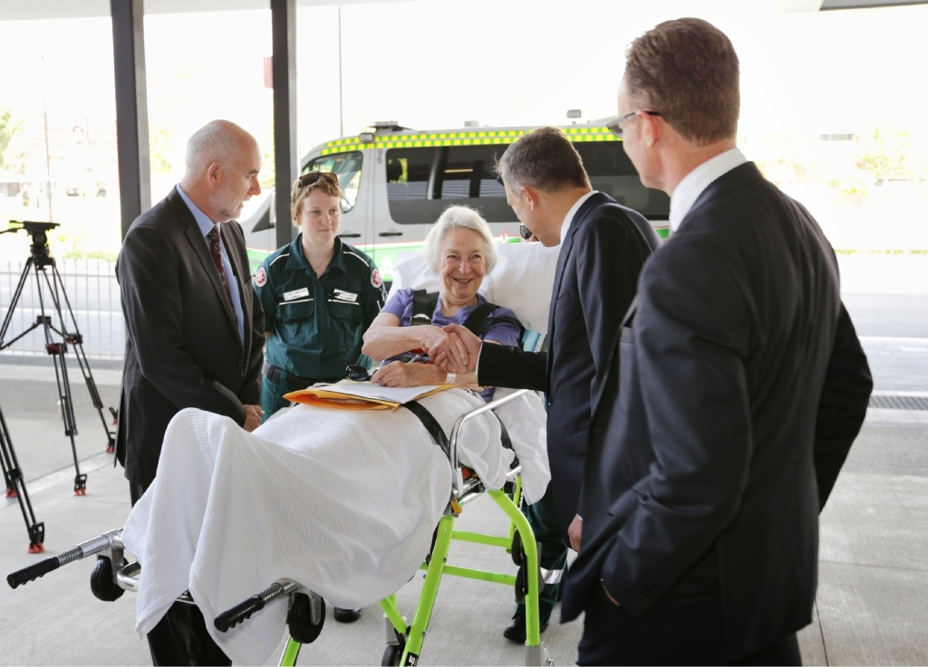 Margery Short arrives at St John of God Midland Public Hospital to be greeted by hospital chief executive Dr Glen Power. Picture: David Baylis