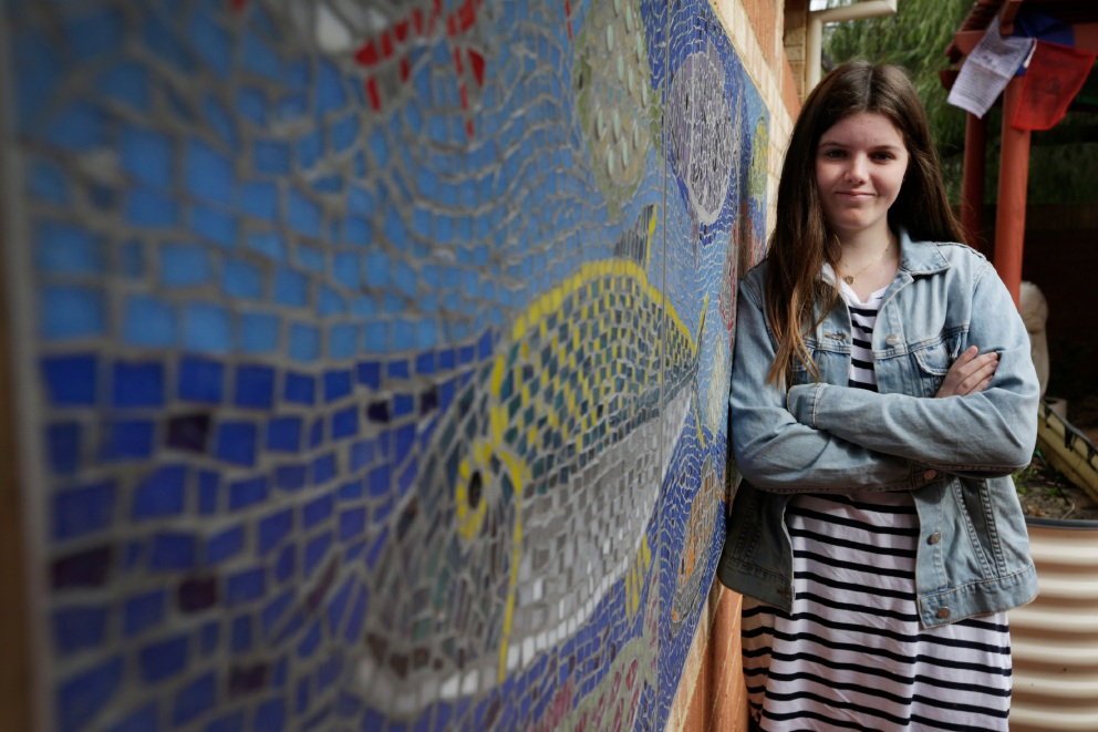 Ruby Cownie (15) has created a mosaic for the Margaret Doody Respite House. Picture: Andrew Ritchie.