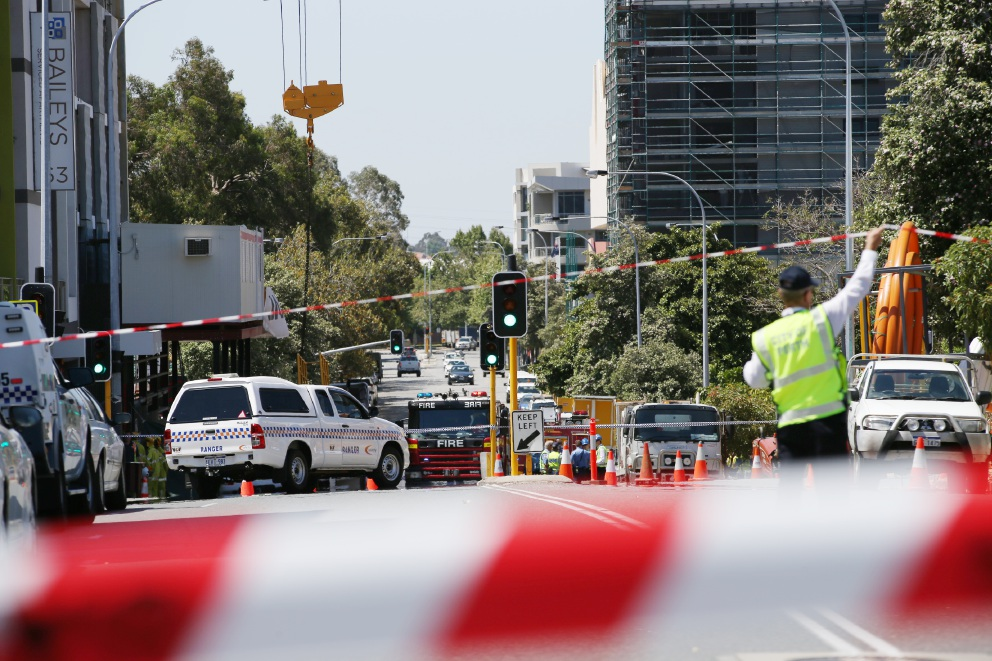 The scene of the double fatality in East Perth today. Picture: Andrew Ritchie.